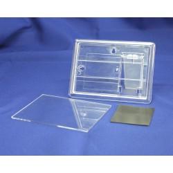 Магнит акриловый на холодильник под полиграфическую вставку, прямоугольный, бесцветный, 110х80 мм, с ножкой