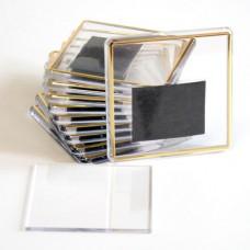 Акриловый магнит 65х65 мм, бесцветный с золотистой рамочкой