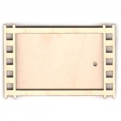 """Деревянный магнит на холодильник, прямоугольный, рисунок - """"Фотокадр"""" размер: 90х60 мм"""