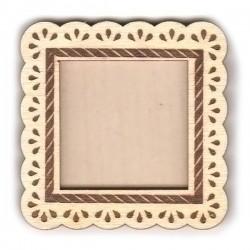 """Деревянный магнит на холодильник, квадратный, рисунок - """"Капельки"""" размер: 65х65 мм"""