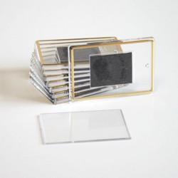 Акриловый магнит на холодильник, прямоугольный, размер: 52х77 мм, бесцветный с золотистой рамочкой