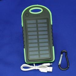 Внешний аккумулятор / Power Bank с солнечной батареей, емкость 8000 мАч, цвет черный/зеленый