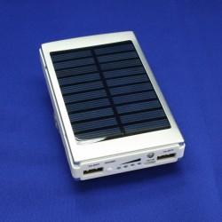 Внешний аккумулятор / Power Bank с солнечной батареей, емкость 10000 мАч, цвет белый/серый