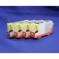 Перезаправляемые картриджи для принтеров HP Deskjet Ink Advantage 3525,4615, 4625, 5525, 6525; комплект 4 шт., с авточипами